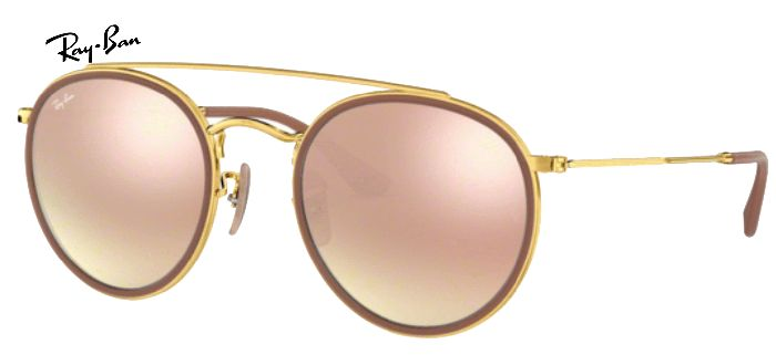 Lunette de soleil ray-ban round double bridge 0RB 3647 001/70
