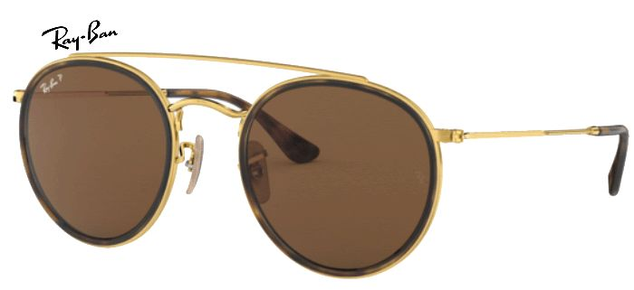 Lunette de soleil ray-ban round double bridge 0RB 3647 001/57