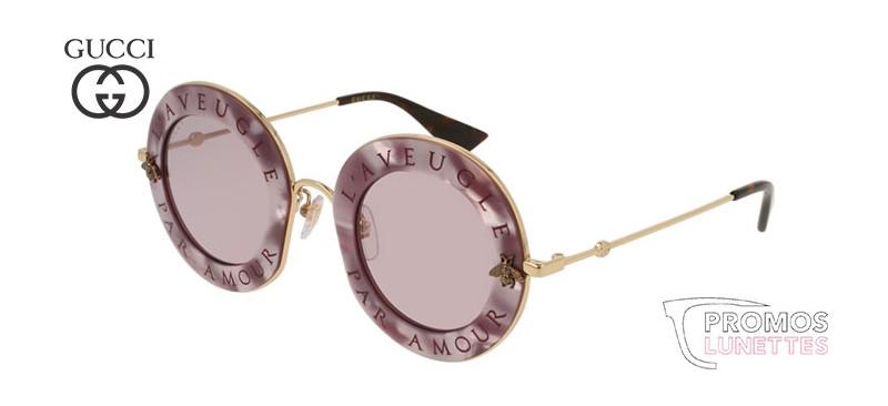 Lunettes de soleil Gucci L aveugle par amour GG0113S-005 - PromosLunettes ef700958d58c